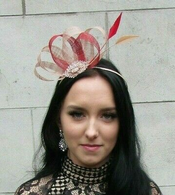 Nude Red Rose Gold Sinamay Feather Hair Fascinator Races Beige Wedding 7477