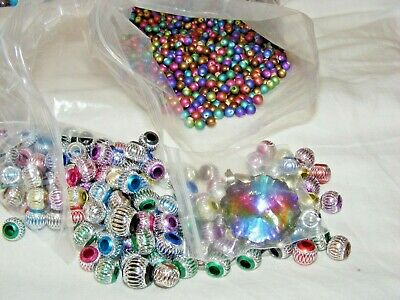 Lot Jewellery Making Craft Rainbow Beads 100+ Composite Beads And 1 Pendant