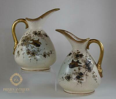 Fantastic Pair Of Antique Victorian Blush Ivory Jugs Ewers