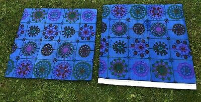 Vintage 1970s Genuine Retro Floral Blue Green Curtain Upholstery Cushion Fabric