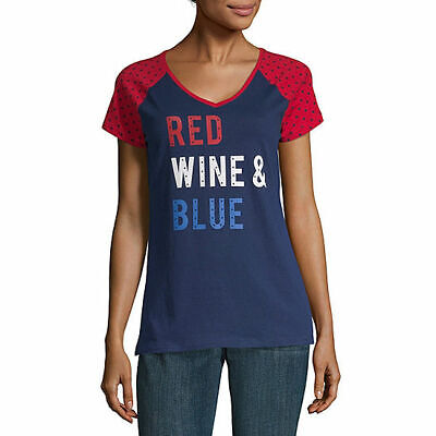 NWT $22 st. john's bay RED WINE & BLUE  cotton blend  top SIZE  SMALL