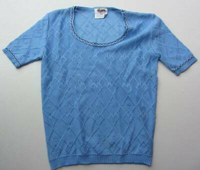 vintage blue top 70's deadstock age 9 girls retro new short sleeved scoop neck
