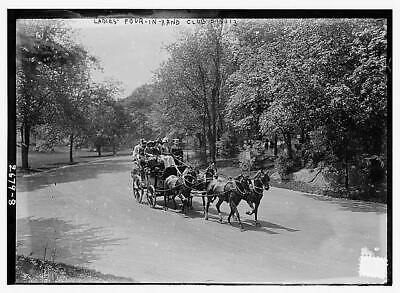 Ladies' 4-in-hand-club,horse drawn carriage,automobile,trees,1910-1915 1 7639