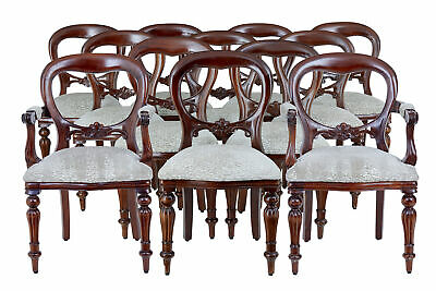 Set 0F 12 Victorian Style Balloon Back Mahogany Dining Chairs
