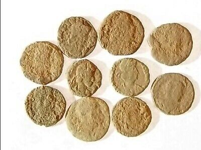 10 ANCIENT ROMAN COINS AE3 - Uncleaned and As Found! - Unique Lot 21749