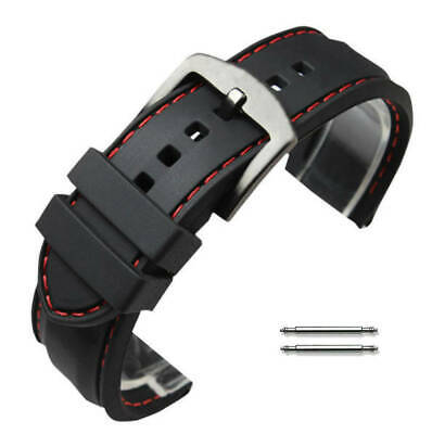 Black Rubber Silicone PU Replacement Watch Band Strap Steel Buckle Red Stitching