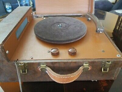 Vintage circa 1960 Symphonic Portable Suitcase Phonograph Record Player