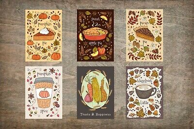 Set Of 6 Mini A7 Autumn Greetings Cards & Envelopes - Apple Pumpkin Spice Pie