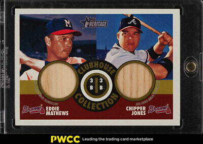 2001 Topps Heritage Clubhouse Collection Eddie Matthews Chipper Jones PATCH PWCC