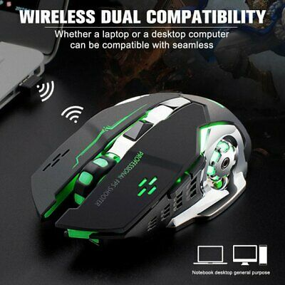Rechargeable Wireless LED Backlit USB Optical Ergonomic Gaming Mouse Mice New