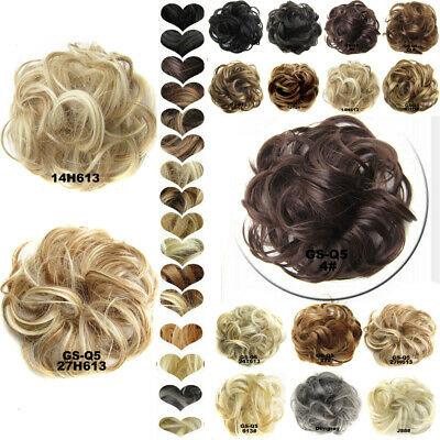 Real Human Hair Extensions Curly Messy Bun Pieces Natural Scrunchies Updo Women