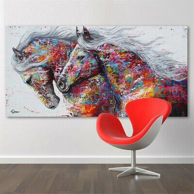 AU 75*150cm Colourful Running Horse Oil Canvas Painting Print Wall Home Decor