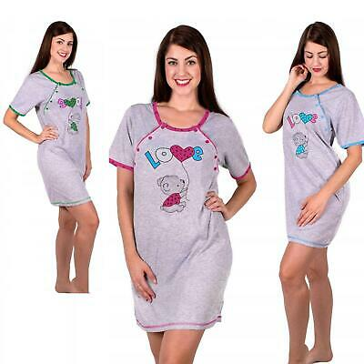 Maternity pregnancy 100/% cotton nightdress nightshirt with Cat 5009