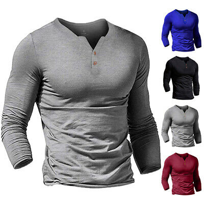 Men's Casual Gym Slim Fit Casual Long Sleeve Muscle V-neck Tops T-shirt Blouse