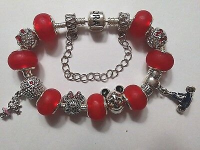 European Style Silver Bracelet - MICKEY MOUSE -With Silver Charms & Glass Beads