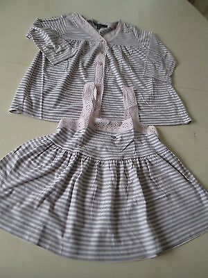Ensemble Twin Set Raye Rose Gris Lili Gaufrette Taille 10 Ans