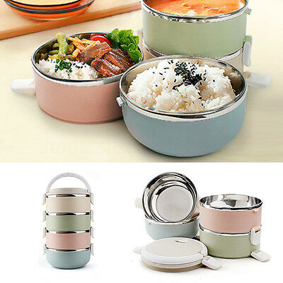 Thermal Insulated Bento Stainless Lunch Box Picnic Food Container 1/2/3/4 Tiers