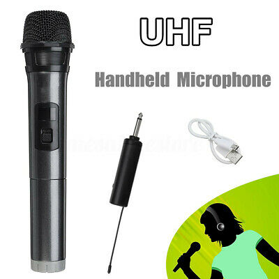 UHF Microphone Wireless Handheld Stereo Mic for KTV Singing Speech + Receiver