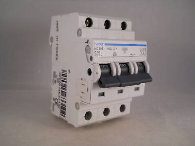Hager MCB 10 Amp Triple Pole 3 Phase Circuit Breaker Type C 10A 463310 NC310