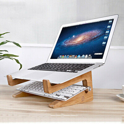 Bamboo Desk Stand Holder Detachable Mount For Macbook Surface Laptop Notebook PC