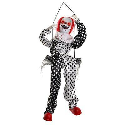 Animated 3' Hanging Swinging Circus Clown Ghost with Flashing Evil Red LED Eyes