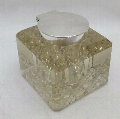 Antique Victorian Solid Sterling Silver and  Cut Glass Inkwell  Birmingham 1898