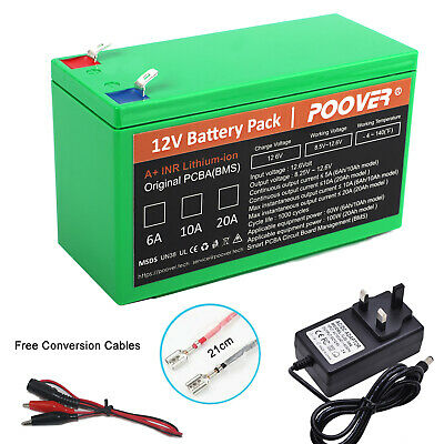 12V Battery Pack Rechargeable 6Ah Li-ion LIFEPO4 12volt SLA Battery Replacement