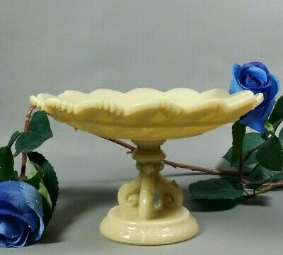 Antique French Opaline Glass Portieux Vallerysthal Compote Tazza Dish Bowl