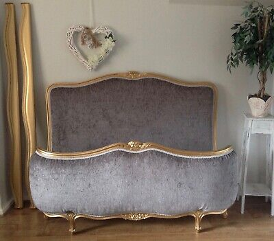 French Demi Corbeille Double Bed Frame -  Gold Frame New Chrome Grey Upholstery