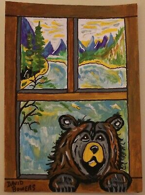 ACEO original painting Bear mountains river trees window landscape  Artist
