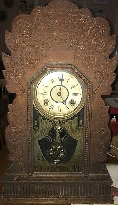 """1800's Antique W.M L Gilbert Parlor Clock Hand Carved Wooden 24"""" High"""