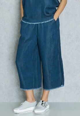 Native Youth ASOS Wide Leg Denim Trousers/Culottes Lyocell S/M Elastic Waist