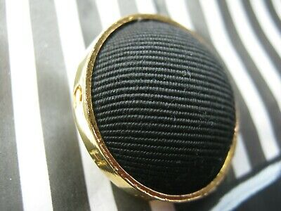 Chanel 1 C H A N E L  Black Fabric  Gold , Metal Button  26 Mm  Vintage  Stamped