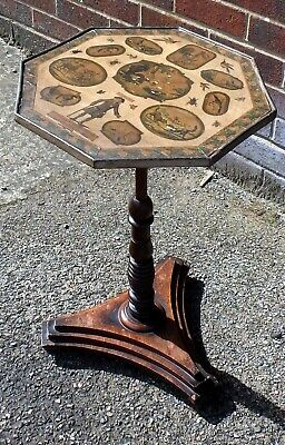 George III Regency antique mahogany country decoupage side lamp occasional table
