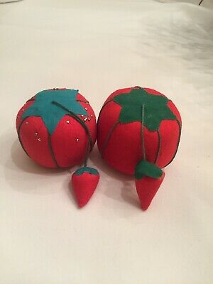 "(2) Vintage Red Tomato Pin Cushions Classic W/ Dangling Strawberry 1 3/4"" & 2"""