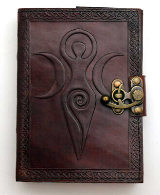Spiral Goddess Hand Tooled Leather Blank Book Diary Journal Embossed Metal Latch