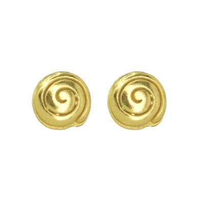 ACROSS THE PUDDLE 24k GP Pre-Columbian Long Life Round Spiral Stud Earrings