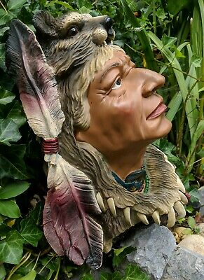 Indian Chief Tobacco Store Bust Lifesize Head Shop Home Bar Smoking Den Statue