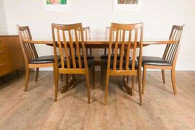 Vintage Retro G Plan Fresco Oval Extending Teak Dining Table and 6 Chairs
