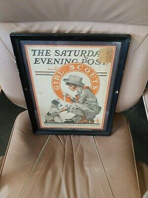 FRAMED VINTAGE SATURDAY EVENING POST OCT 25, 1924 COVER ONLY GIRL SCOUTS Dog