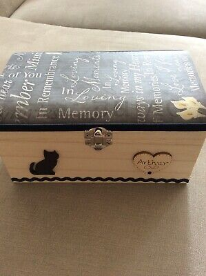 Cat Pet In Loving Memory Wooden Box Ashes Cremation Memorial Personalised Gift