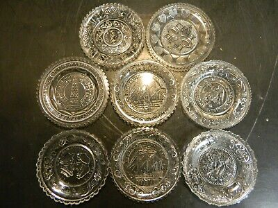 """Vintage Set of (8) Clear Glass Cup 3.5"""" Plates Bunker Hill, Clay, Franklin V. G."""