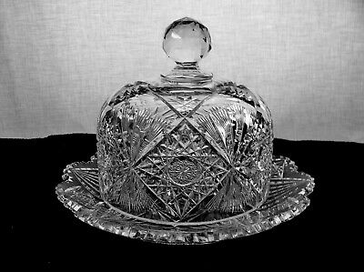 American Brilliant Cut Glass Cheese Dome In Uncatena By Pairpoint Antique
