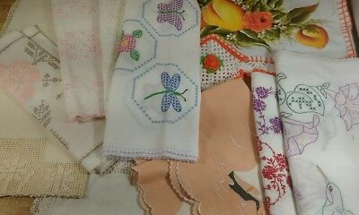 Vintage Table Runners Centerpieces Handmade Embroidered Crochet Lot 11