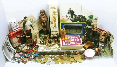 Vintage Junk Drawer Lot Novelties Souvenirs Train Tokens Scrap Jewelry Ephemera