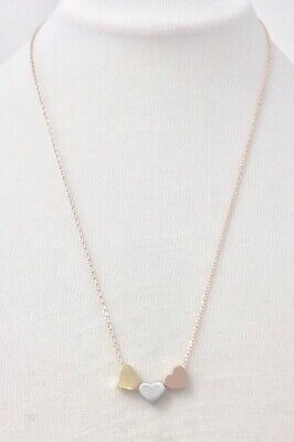 Ladies Gold Plated Three Heart Gold Rose Gold and Silver Simple Necklace