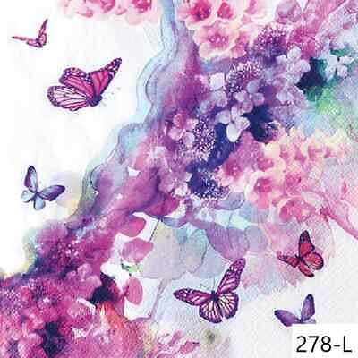 TWO New Paper Luncheon Decoupage Napkins - WATERCOLOR, BUTTERFLY, FLOWERS (278)