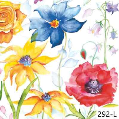 TWO New Paper Luncheon Decoupage Napkins - WATERCOLOR, FLOWER, FLOWERS (292)