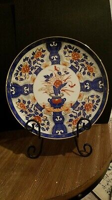 Antique Japanese Imari Hand Painted Plate Blue Red Flowers VG