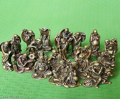 Oriental Old Different forms Folk Classic Bronze Statues 18 Arhats Luohan buddha